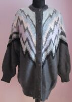 VTG Ladies Unbranded Grey Multi Lined Acrylic Shoulderpads Cardigan Size L (j25)