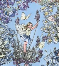 Cicely Mary Barker Flower Fairy Fairies Characters on Peri Blue Fabric - FQ