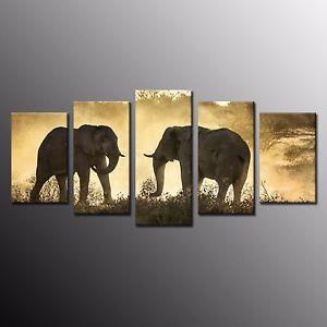 FRAMED Canvas Painting Print Landscape Elephant Wall Art Picture Home Decor 5pcs