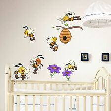 Nursery Wall Decals Bees Full Color Sticker Colorful Kids Decals Baby Decor DD14