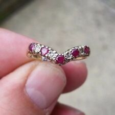 9ct gold diamond and ruby eternity wishbone ring size N