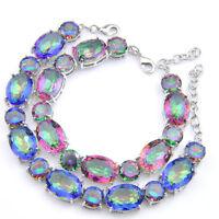 Wedding Jewelry Set Multi Natural Rainbow Fire Topaz Gems Silver Charm Bracelets