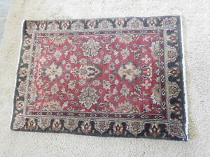 """Vintage ORIENTAL STYLE WOOL Area RUG ~35"""" x 25"""" ~FREE SHIPPING"""