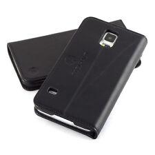 EDELHAUT Handytasche aus echtem Leder schwarz Samsung Galaxy S5 Case Hülle Etui