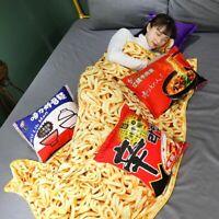 Ramen Noodles Japanese 3D Funny Blanket Plush Warm w/ 1 Pillow Cushion Harajuku
