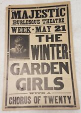 "Antique 1917 Majestic Burlesque Theatre collectible ephemera 22""x14"" poster"