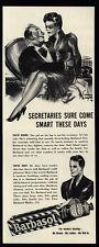 1940 BARBASOL - Sexy Woman Secretary Sits On Boss Lap - VINTAGE AD