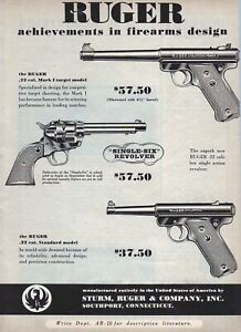 1953 magazine ad for Ruger firearms, Mark 1 Target, Single-Six Revolver, .22 Cal