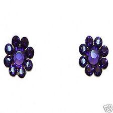 "Tarina Tarantino Crystal Flower Post Earrings 1/2"" Purple Swarovski *Made in USA"