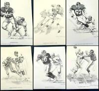 NFL 1981 Shell Football Art Prints NY Giants Complete Set 6 Signed Galloway EXC