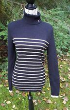 Ralph Lauren Black Metallic Gold Striped Turtle Neck Sweater Large NWT MSRP $79