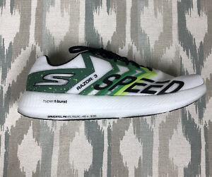 Skechers GOrun Razor 3 Hyper Burst Mens Running Athletic Shoes White/Green Sz 10