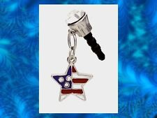 STAR DANGLE FLAG Earphone Jack Dust Plug Cover Stopper Cell phone Iphone Android