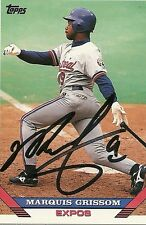 MARQUIS GRISSOM MONTREAL EXPOS SIGNED AUTOGRAPHED 1993 TOPPS CARD #15 W/COA
