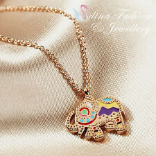 18K Rose Gold Plated Multicolored Patterns Cute Little Elephant Necklace