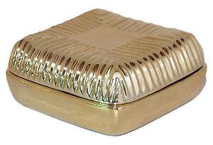 Trinket Box Gold Ceramic Porcelain Embossed Line Detail Lid