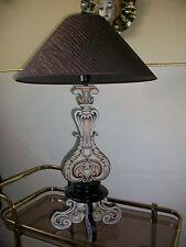 Tischleuchte Hockerleuchte Lampe Barock Rokoko Stil braun inkl. Lampenschirm E27