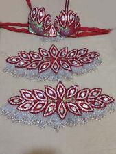 Egyptian Belly Dance Costume bra & Belt Set Professional Dancing Red Sllver
