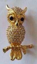 Vintage Rhinestone Diamante Gold Plated Owl Brooch