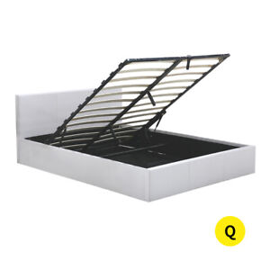 Gas Lift Bed Frame Premium Leather Base Mattress Storage Queen Size White Levede