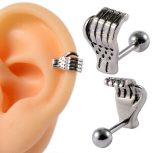 Surgical Steel Cartilage Helix Lobe Earrings 16g Hand Ear Cuff Piercings Jewelry