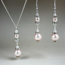 Blush pearls crystals necklace earrings wedding bridesmaid silver jewellery set