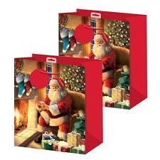Pack 2 Noël Petit Sac Cadeau 26.5cm x 21.5cm x 10cm - Père noël