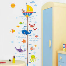 Sea Ocean Fish Kids Height Growth Chart Measure Wall Stickers Baby Room Decor US