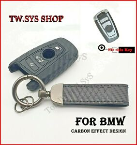 Silicone Key Case Cover +Keyring ☆Carbon Design☆ For BMW F10 F20 F30 ☆4 Buttons☆
