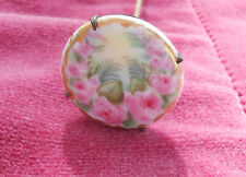 VICTORIAN PORCELAIN HATPIN HAND PAINTED VINTAGE ANTIQUE RARE PINK FLOWERS 6 1/4""