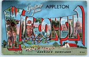 "Large Letter Linen APPLETON, WISCONSIN WI ""America's Dairyland"" 1940s Postcard"