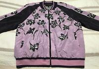 St. John Womens Medium Silk Bomber Jacket Purple Floral M Full Zip