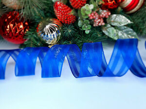 CHRISTMAS WIRED EDGE RIBBON 1.5 IN WIDE BLUE TREE WRAP GIFT WRAPPING BULK