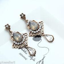 1 Pair Elegant Brown Crystal Rhinestone Ear Drop Dangle Stud long Earrings 213