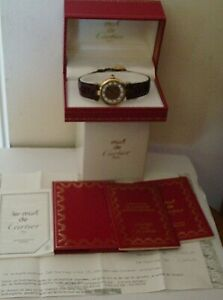 VINTAGE LADIES 1993 VERMEIL MUST DE CARTIER TRI COLOUR DIAL WITH BOX & PAPERS