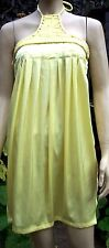 LUCY COLLECTION Yellow Halter Neck Piped Top Side Zip  Holiday Dress Size S BNWT