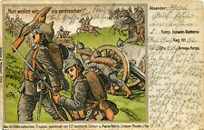 AK Militaria 1915 Nun wollen wir sie verdreschen  Leonhardt Papierfabrik Crossen