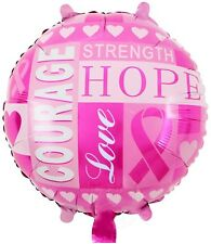 """Breast cancer pink ribbon round foil balloon 18"""" 45cm"""