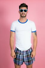 Unisex retro sailor style white & Blue neck tshirt