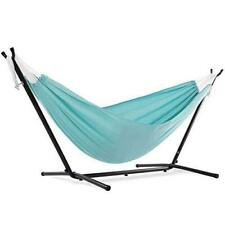 Backyard Double Polyester Hammock with Space Saving Steel Stand