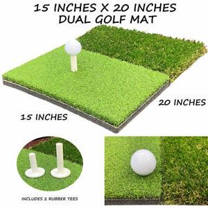 "15"" x 20"" Portable Dual Turf Mat Golf Chipping Driving Range Backyard Practice"