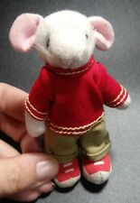 """New listing Stuart Little white Mouse Doll Toy plush red shirt Outfit 4"""" Character Figure"""
