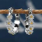 Elegant 925 Silver Hoop Earrings For Women Cubic Zirconia Wedding Jewelry Gift