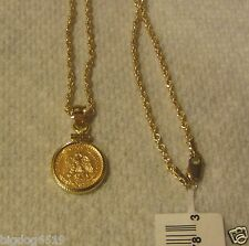 "22KT GOLD 1945 DOS 2 PESOS COIN PENDANT NECKLACE WITH 14K 20"" HOLLOW ROPE CHAIN"
