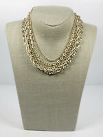 Vintage Necklace Multi Strand Gold Tone Collar Length Hook Clasp Hong Kong Stamp