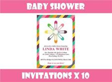 10 x Personalised Baby Shower Invitations Invites + Envelopes Pink Blue Yellow