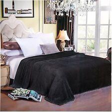 """Solaron Korean Blanket throw Original Mink silky king size Black 87"""" x 94"""" new"""