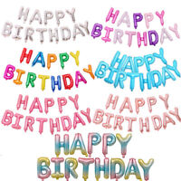 Happy Birthday Balloon Banner Bunting Party Self Inflating Letters Foil Balloons