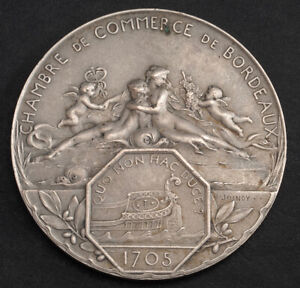 "1906, France. Large Silver ""Chamber of Commerce of Bordeaux"" Medal. 29.65gm!"