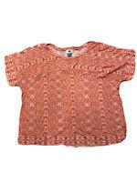 Old Navy Orange White Aztec Print Short Sleeve Shirt Top Tee Women's XL Large